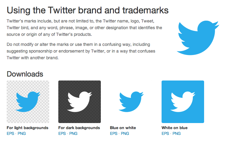 Notice how Twitter allows you to download their new logo in vector formate.