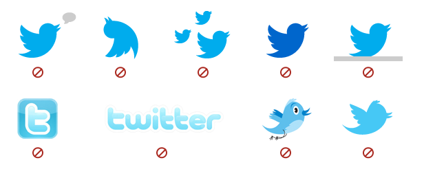How not to use the Twitter icon or logo.