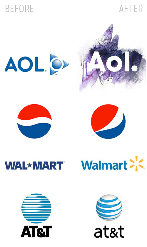 Twitter is not the only brand that suffers from lack of attention. Other big brands such as Pepsi, AOL, and Walmart all suffer from others not noticing their updated branding standards.